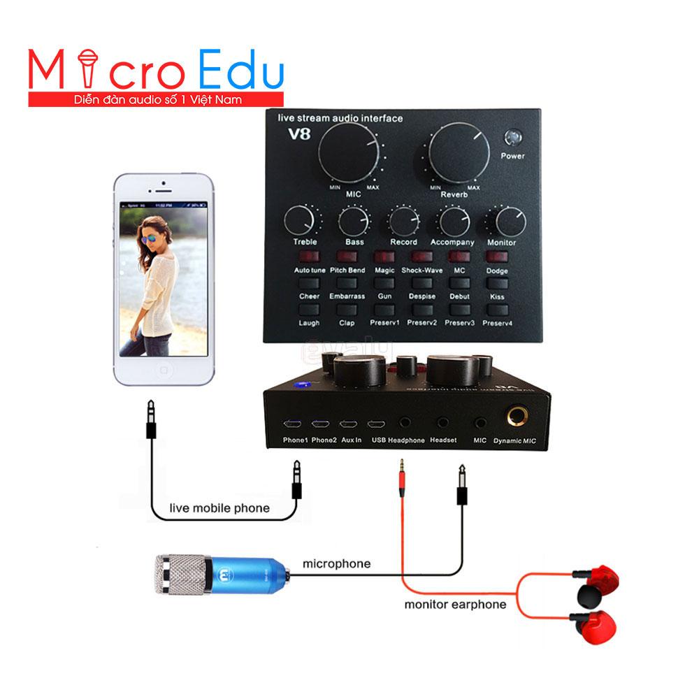 Sound card V8 thiết bị chuyên nghiệp cho thu âm, hát karaoke